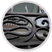 Snakes On A Gate Round Beach Towel
