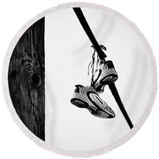 Sneakers On Power Line Round Beach Towel