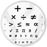 Snellen Chart - Mathematical Symbols Round Beach Towel