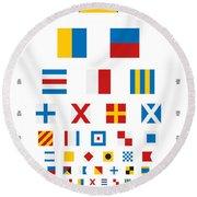 Snellen Chart - Nautical Flags Round Beach Towel