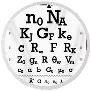 Snellen Chart - Physical Constants Round Beach Towel
