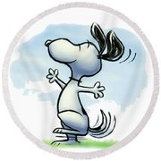 Snoopy T-shirt Round Beach Towel