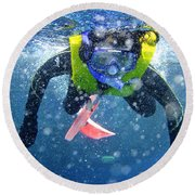 Snorkeling At The Great Barrier Reef Round Beach Towel