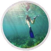 Snorkeling In Coral Reef Round Beach Towel