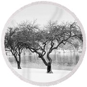 Snow Along The Schuylkill River Round Beach Towel