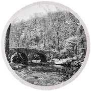Snow Along The Wissahickon Creek Round Beach Towel by Bill Cannon
