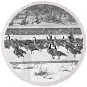 Snow And Geese On The River II Round Beach Towel