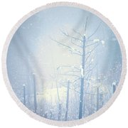 Snow And Remnants Of The Fire 2 Round Beach Towel
