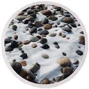 Snow And Stone Round Beach Towel