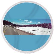 Snow And The Open Road Round Beach Towel