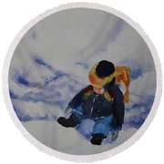 Snow Angel Round Beach Towel