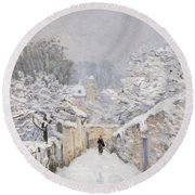 Snow At Louveciennes Round Beach Towel by Alfred Sisley