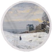 Snow At Montmartre Round Beach Towel