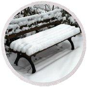Snow Bench Round Beach Towel