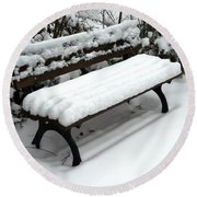 Snow Bench Round Beach Towel