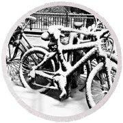 Snow Bicycles Round Beach Towel