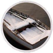Snow Boat Round Beach Towel