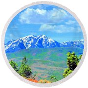 Snow Capped Round Beach Towel