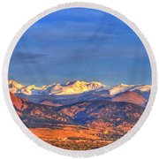 Snow-capped Panorama Of The Rockies Round Beach Towel