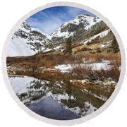 Snow-capped Refections Round Beach Towel