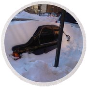 Snow Car Round Beach Towel