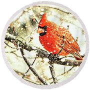 Snow Cardinal Round Beach Towel