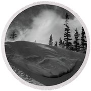 Snow Circle In The Mountains Round Beach Towel