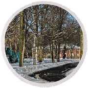 Snow Cleared Road Round Beach Towel