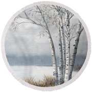 Snow Coming Into The South Shore  Round Beach Towel
