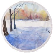 Snow Country Round Beach Towel