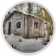 Snow Covered Abandon Cabin Round Beach Towel