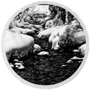 Snow Covered Banks Round Beach Towel