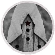 Snow Covered Birdhouse Round Beach Towel
