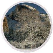 Snow-covered Black Oak Half Dome Yosemite National Park California Round Beach Towel