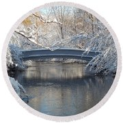 Snow Covered Bridge Round Beach Towel