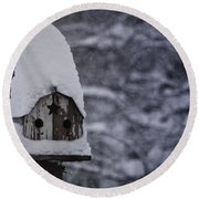 Snow Covered Elf Birdhouse Round Beach Towel