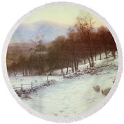 Snow Covered Fields With Sheep Round Beach Towel