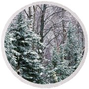 Snow-covered Forest, Wisconsin, Usa Round Beach Towel