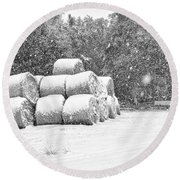 Snow Covered Hay Bales Round Beach Towel