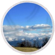 Snow Covered Mountains Round Beach Towel