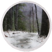 Snow Covered Path Quantico National Cemetery Round Beach Towel