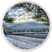 Snow Covered Pines Round Beach Towel
