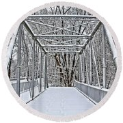 Snow Covered Pony Bridge Round Beach Towel