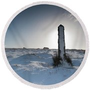 Snow Covered Post II Round Beach Towel