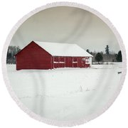 Snow Covered Red Barn Round Beach Towel