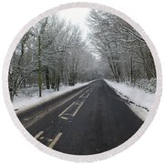 Snow Covered Road Round Beach Towel
