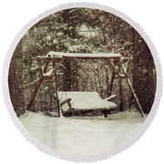 Snow Covered Swing Round Beach Towel