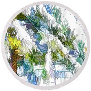 Snow-covered Tree Branch  3 Round Beach Towel