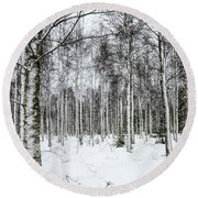 Snow Covered Trees Round Beach Towel