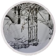 Snow Covered Wisteria Arch Round Beach Towel